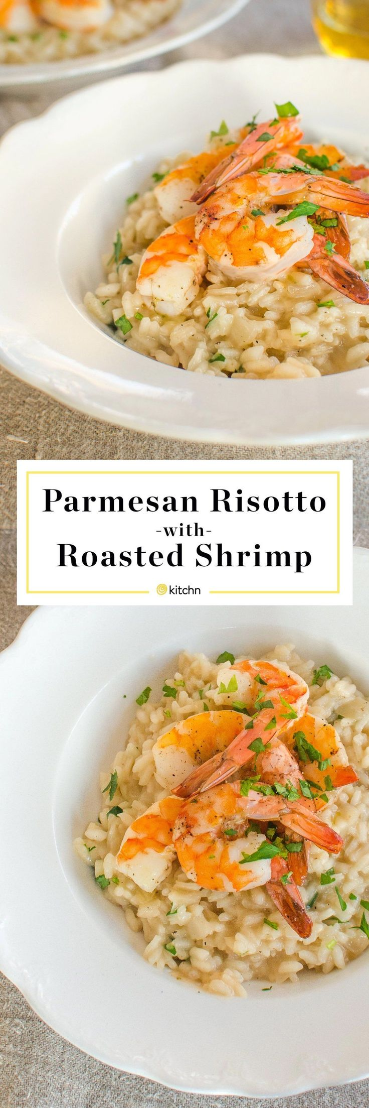 Parmesan Risotto with Roasted Shrimp Recipe. This is a surprisingly quick and easy weeknight meal, but it's also one of those impressive dinner recipes everyone loves. Perfect for a date night in or a romantic valentine's day dinner for two!