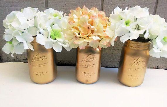 Gold mason jar Rustic wedding decor Flower by EnglishBliss on Etsy