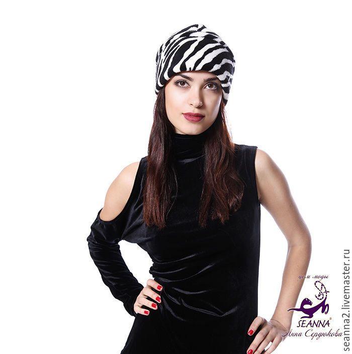"""Купить Шапка """"Зеброчка"""" очень теплая и уютная из американского флиса - чёрно-белый, шапка, шапочка"""