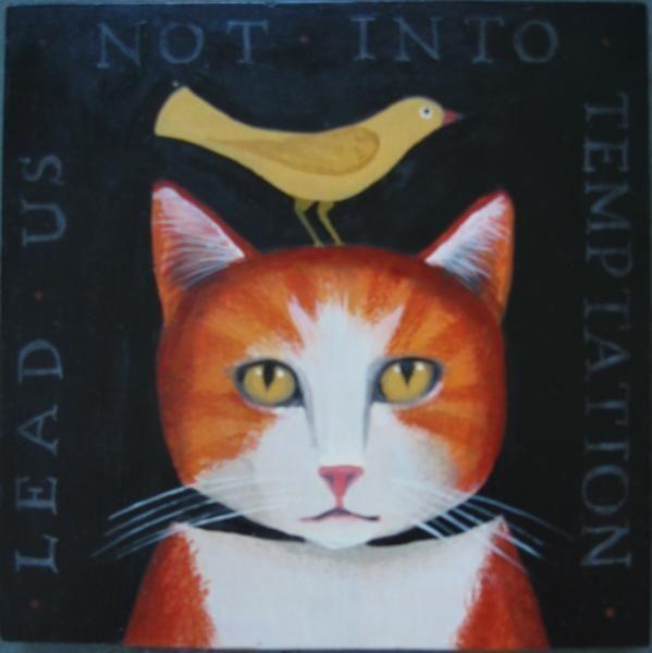 A Cat and Bird by Diane Ulmer Pedersen ♥•♥•♥