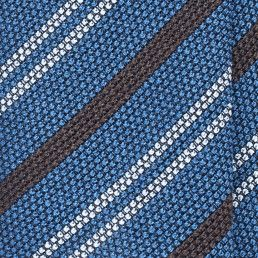"Handrolled Striped Grenadine ""Garza Fina"" Silk Tie - Mid Blue/Chocolate"