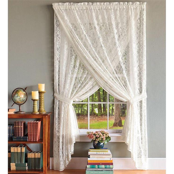 "56""W x 30""L Semi-Sheer Lace And Crochet Cascade Valance | Curtain Panels"