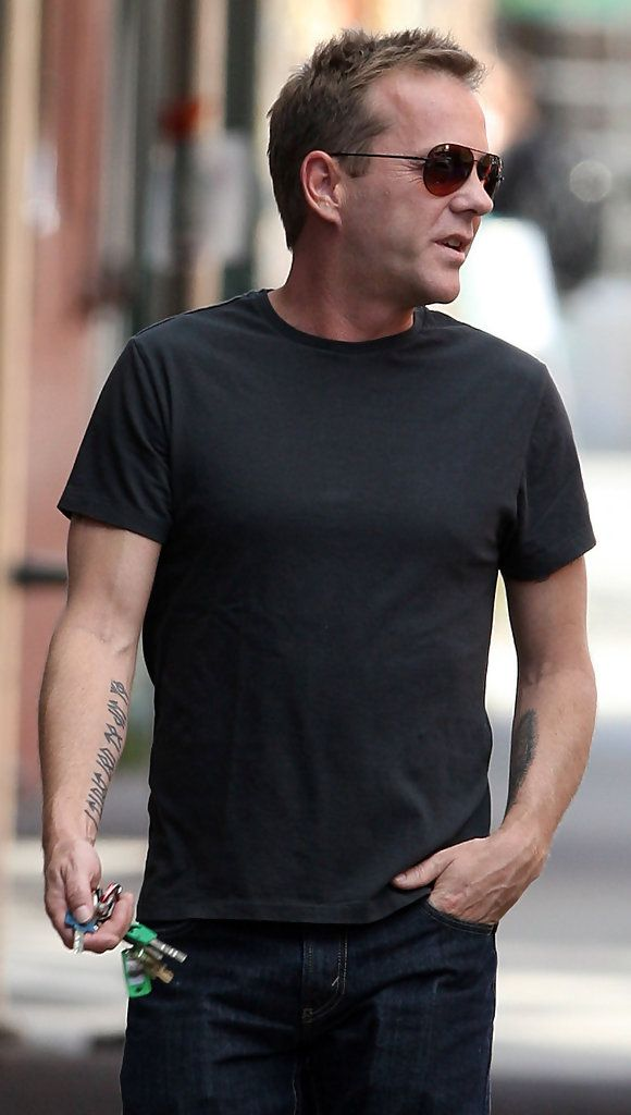 Kiefer Sutherland Photos Photos - Kiefer Sutherland seen out in the West Village, NYC with two tattoo's one on each arm. - Kiefer Sutherland Out in West Village