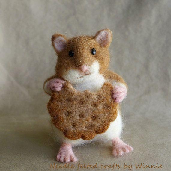 Hamster eating cookie Needle felted handmade by FunFeltByWinnie