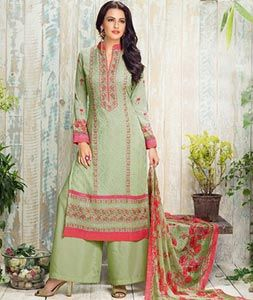 Buy Light Green Georgette Palazzo Style Suit 74313 online at lowest price from…