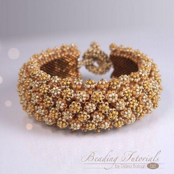 Corona de Flore bracelet beading tutorial