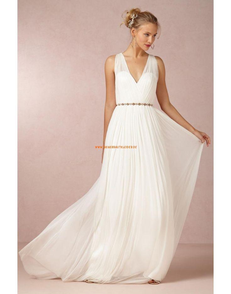 Schlichte Bodenlange Hochzeitskleider aus Chiffon