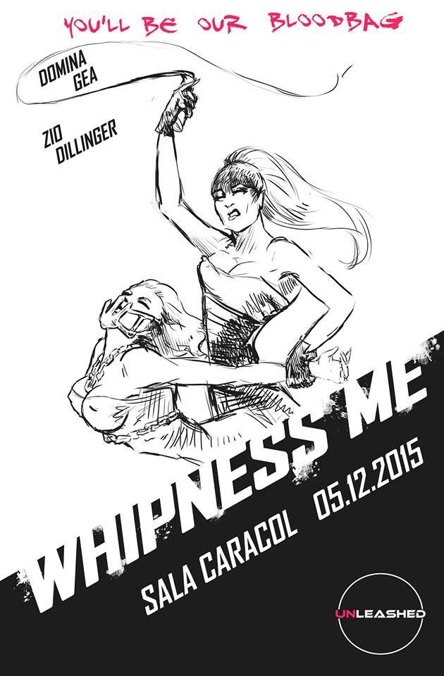 """""""Whipness me""""; a performance of: Dómina Gea, Zio Dillinger and their war boys slaves ;). For: Unleashed: """"Madrid the fetish underground extravaganza"""" (Illustration by: ZioDillinger)"""