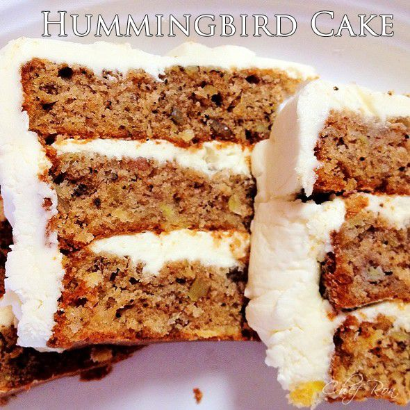 Hummingbird Cake - and Cream Cheese Icing Recipe 3 cups all-purpose flour 2 cups white sugar 1 teaspoon baking soda 1 teaspoon salt 1 teaspoon ground cinnamon 3 eggs- lightly beaten 2 teaspoons vanilla extract 1 1/2 cups oil 1 (8 ounce can) crushed pineapple -do not drain 2 cups bananas, mashed or about 3 – 4 large bananas 1 cups pecans or almonds/ walnuts chopped  Similar to #Carrot #Cake