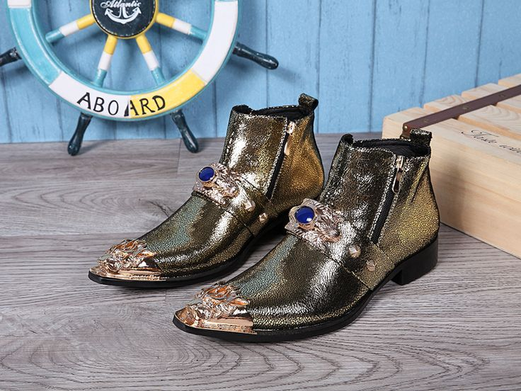 2017 Новый Стильный мужские Ботинки Из Натуральной Кожи Осень Зима Мужчины обувь Острым Носом Золото Цвет Вечеринок Свадебная Обувь для человек(China (Mainland))