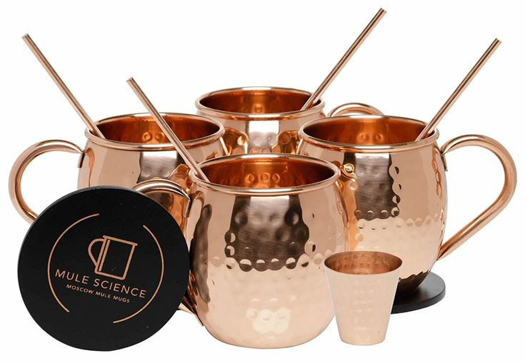 Pure Copper Moscow Mule Mugs (Set of 4) by Mule Science - 16 Ounce Each
