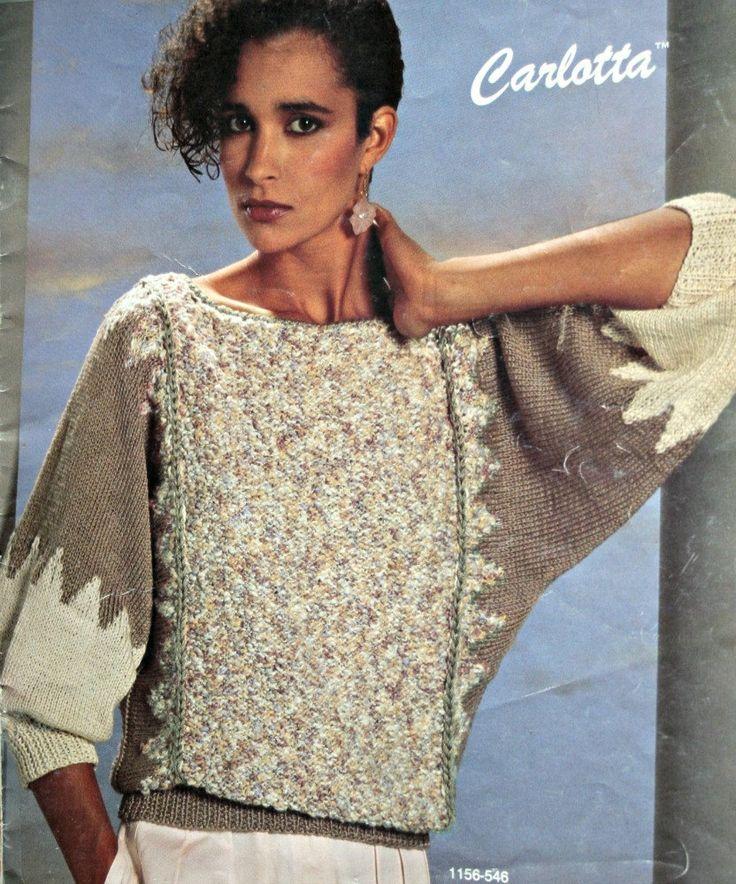 Sweater Knitting Paterns Dolman Carlotta Bernat 546 Vintage Paper Original NOT a PDF by elanknits on Etsy