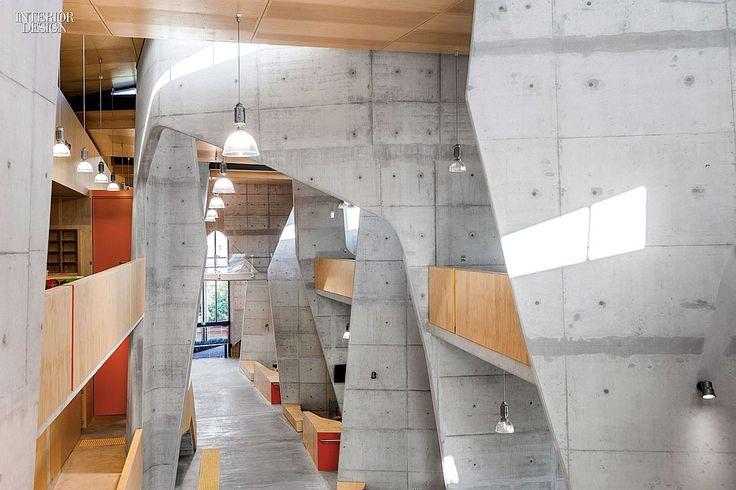 Ripple Effect: CRAB Studio Designs Queensland Architecture School | Pendant fixtures by Charles Keller light the corridor. #interiordesign #interiordesignmagazine #design #interiors #lighting @followcrab