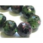Ruby in zoisite string, 11mm round faceted, 40cm