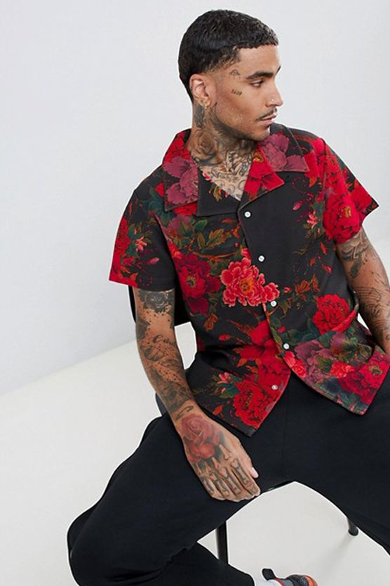 c0228eed163 PROFOUND AESTHETIC EXOTIC FLOWER PRINT BUTTON DOWN SHIRT IN RED  ad  Keywords  fall menswear new style fashion menswear fashion menswear inspired  fashion ...
