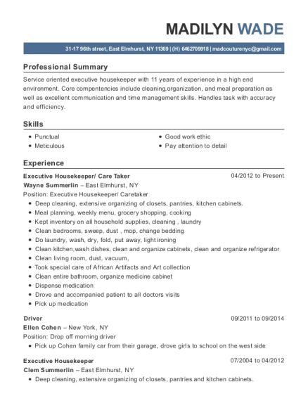 21 best Sample resume images on Pinterest - housekeeping resume