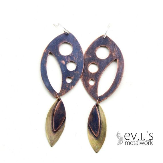 Mix Metal Copper Brass Oval Chandelier Earrings by evismetalwork, €29.00