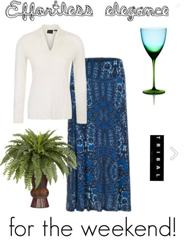 Pair a long-sleeved top from the Fall collection with a flowing maxi skirt from the Summer collection, and voilà: effortless elegance for the weekend! #tribalsportswear #effortlesselegance #fashion #style #weekend #OOTD #fall2014 #summer2014 #style #polyvorecollage #polyvore