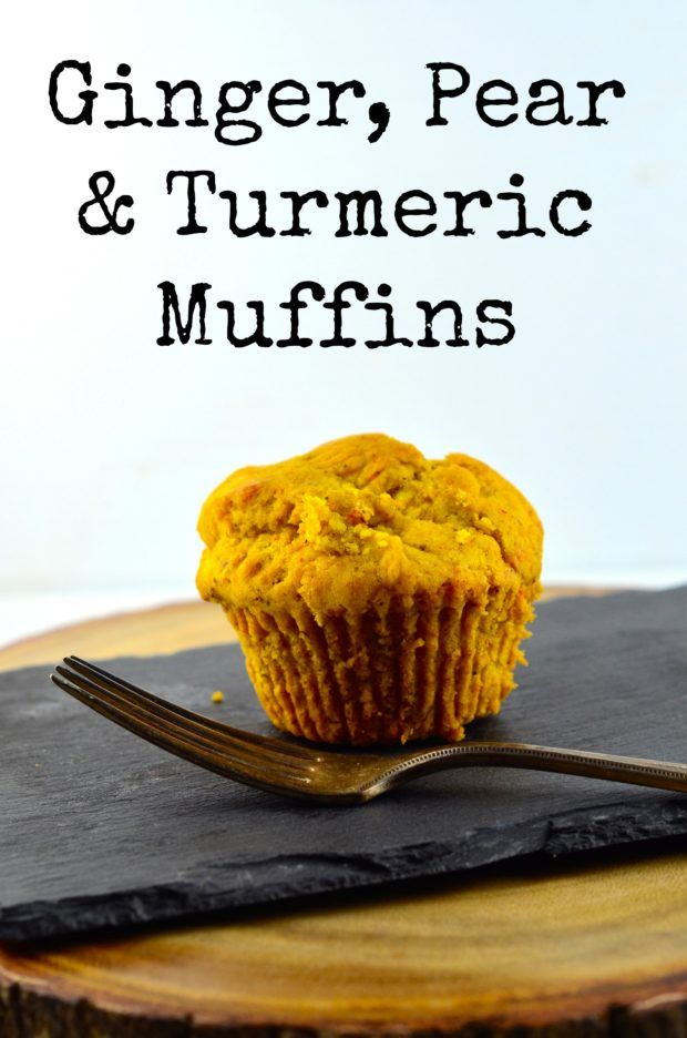 Gimger, Pear & Turmeric Muffins - Tired of the same old muffins? Spice up your breakfast with these fragrant and unique muffins - #Vegan, #Muffins, #breakfast, #vegetarian, #pear, #ginger, #turmeric, #recipe #kosher