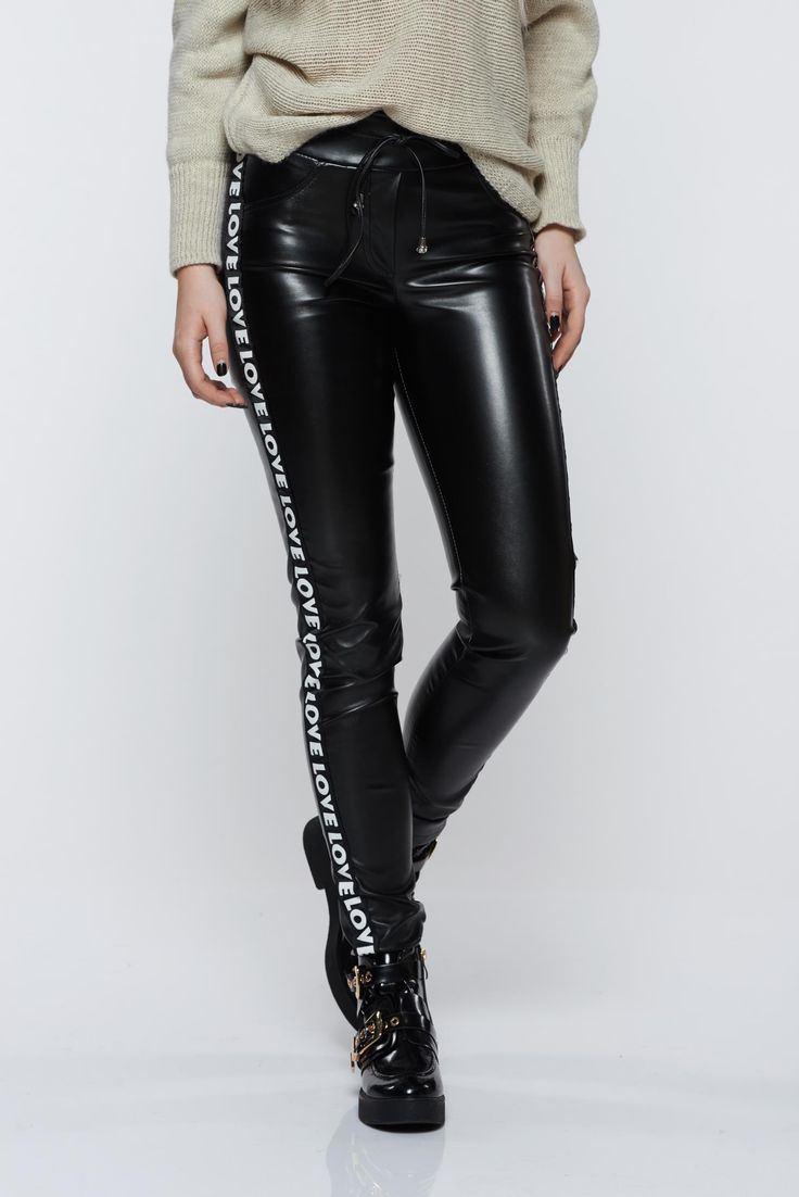 Ocassion black trousers casual with medium waist from ecological leather, medium waist, ribbon fastening, tented cut, ecological leather