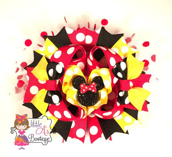 Minnie Mouse inspired OTT bow over the top by LittleAsBowtique, $13.50