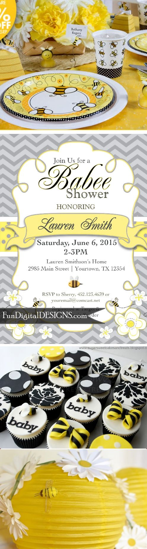 BABEE Shower Invitation, Mommy to Bee, Bumble Bee, Honey Bee Baby Shower Invitation yellow grey gray - Chevron - Digital- Printable