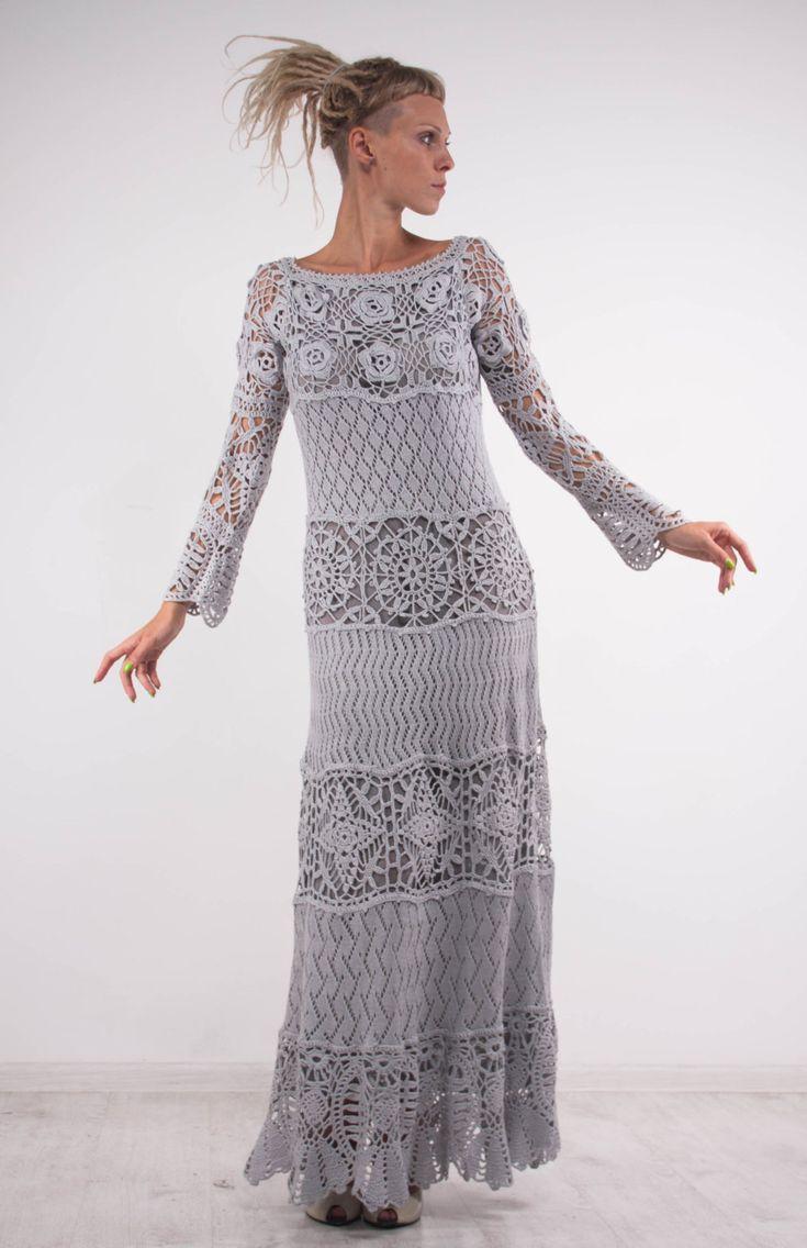 Crochet lace off shoulder dress grey maxi dress long sleeves dress