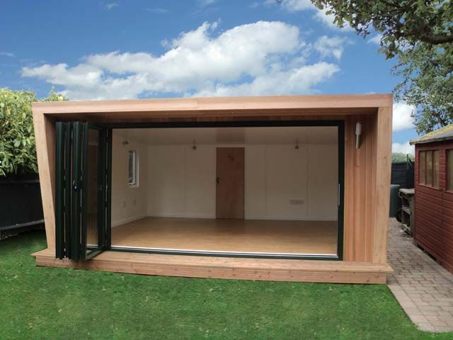 Pinnacle 5x5m with back storage room, 4m bi-fold doors in green and cedar cladding, from £20,995 plus VAT