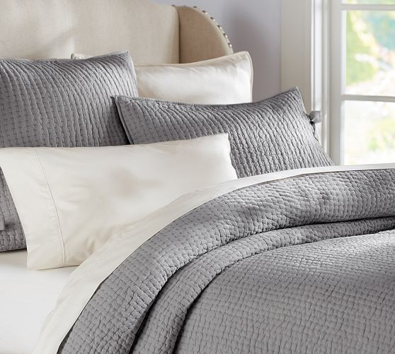 Pick-Stitch Quilt & Sham   Pottery Barn-flagstone grey or white-queen