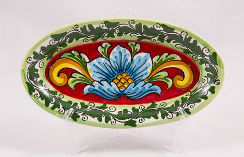 #Souvenir #Plate: #Italy. #Sicily. Blue Flower on Red Background. #Caltagirone #Ceramics. Hand Made. Oval. Diameter 21 cm