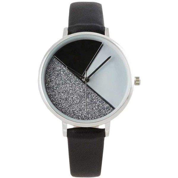BKE Round Watch - Black (1.705 RUB) ❤ liked on Polyvore featuring jewelry, watches, black, bke jewelry, bke watches, leather-strap watches, buckle watches and quartz movement watches
