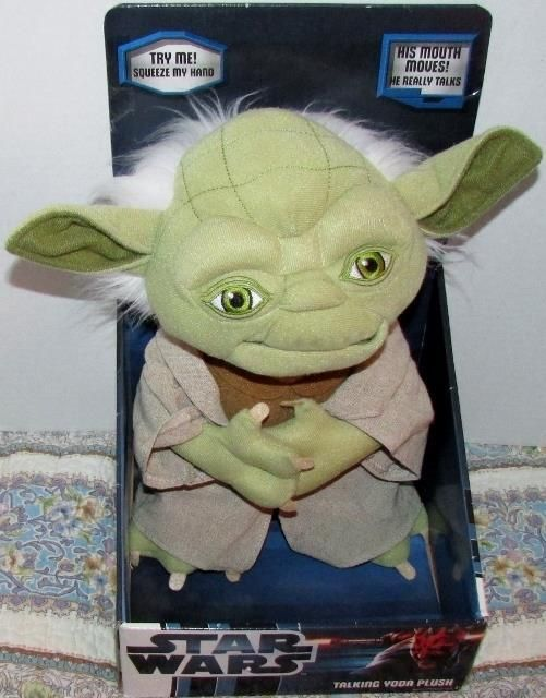 """Star Wars Talking Yoda Plush  This 12"""" talking re-creation of absolutely everyone's favorite Jedi Master says some of his unforgettable sayings when his tummy is pressed, """"For 800 years have I trained Jedi"""", """"Do, or do not. There is no try."""", """"Judge me by my size do you. Size matters not""""."""