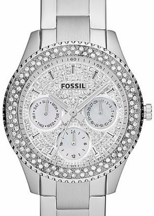 NWT Women's Fossil Watch ES3143 Silver BLING Encrusted Face and BLING Bezel #Fossil  www.womenswatchhouse.com
