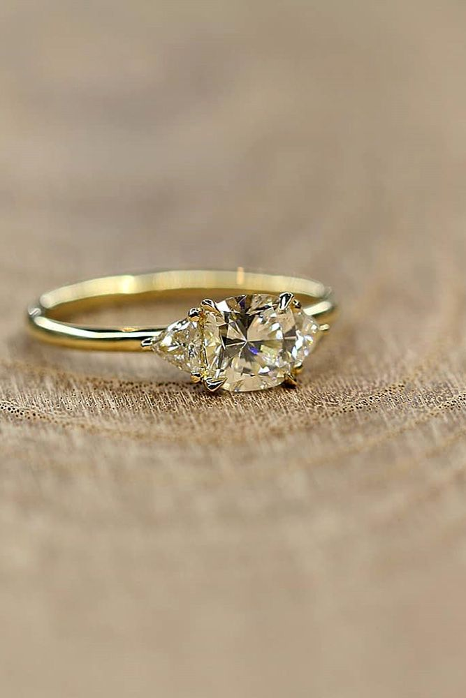 27 The Best Yellow Gold Engagement Rings From Pinterest Three Stone Engagement Rings Cushion Yellow Gold Engagement Rings Engagement Rings Sale