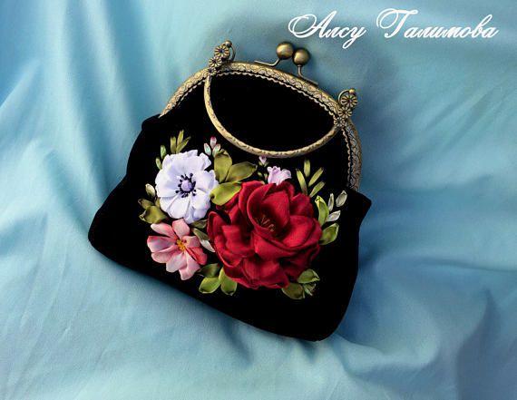 Handbag with clasp Original gift for woman beautiful handmade