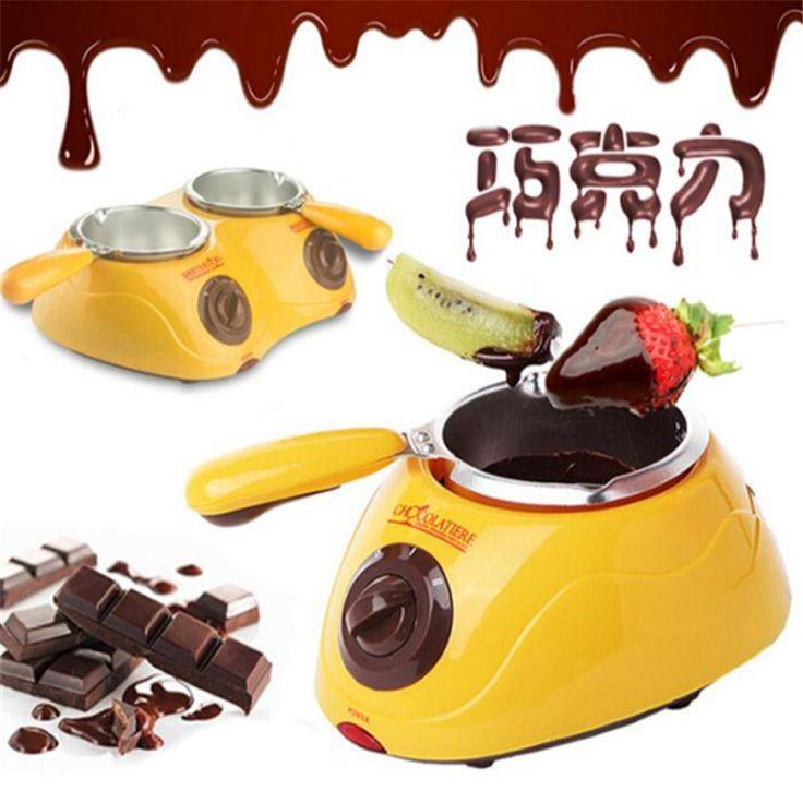 Venta caliente Cantante de Chocolate fuente de Chocolate Fondue Eléctrica Olla de Fusión Máquina fusor Amarillo y Rosa