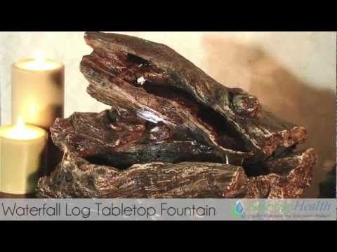 Waterfall Log Tabletop Fountain By Serenity Health   YouTube