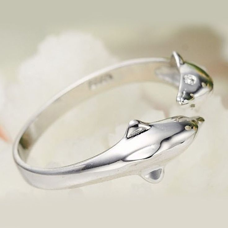 Cute Happiness Double Dolphins 925 Silver Plated Ring Fashion - Tomtop.com