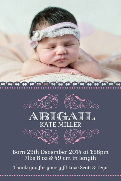 BAG118 Abigail Navy Girl Birth Announcement