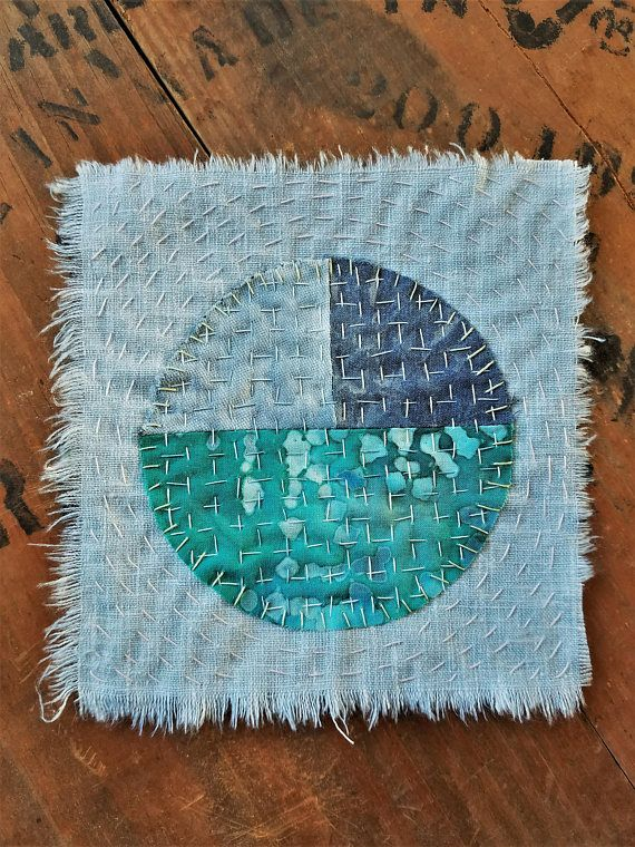 ➳✜➵✜➳ ITEM DESCRIPTION ➳✜➵✜➳ Here is Eco friendly full moon patch The material that is used for this has been recycled with linen and cotton , all naturally hand dyed with indigo The backing piece is light blue cotton the other two indigo pieces I dyed in indigo and the greenish batk