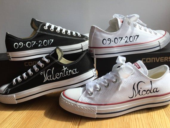 Custom Converse Groom and Bride shoes with white satin