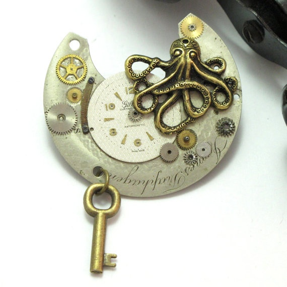 Jules Verne Steampunk Brooch designed by Mystic Pieces #steampunk #mysticpieces #gifts
