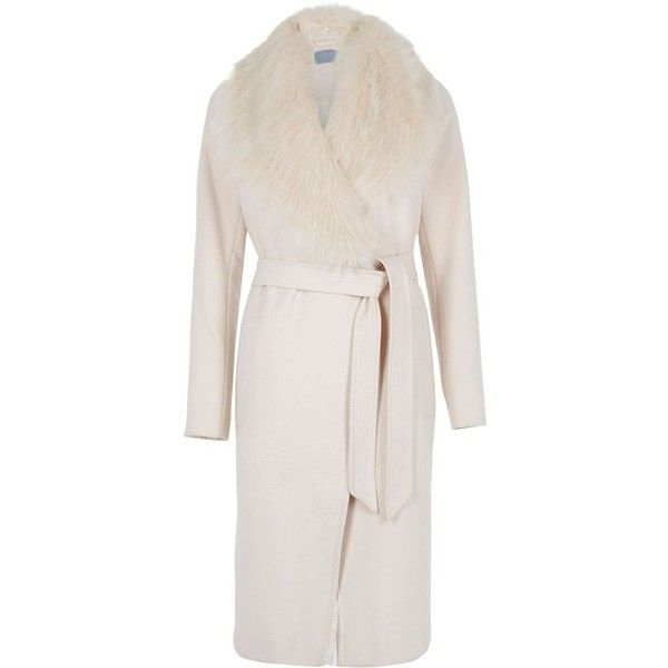 River Island Cream faux fur collar belted robe coat ($180) ❤ liked on Polyvore featuring outerwear, coats, river island, river island coats, belted coats, pink coat and cream coat