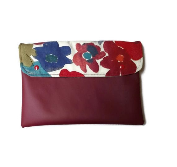 Bordeux vegan clutch flowers vegan clutch vegan by Monalinebags