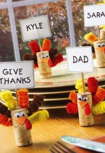 Thanksgiving Turkeys, name cards.  Cutest thing ever to do with wine corks.  We are going to make these during arts and craft time.