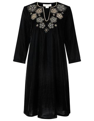 Starburst embellishments dance glamorously across our Stasia velvet tunic dress. This plush design is laden with beads, metallic embroidery and sequins to it...