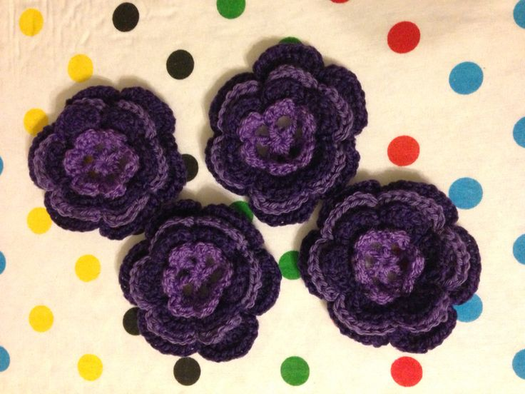 Crochet purple 4 layer flower