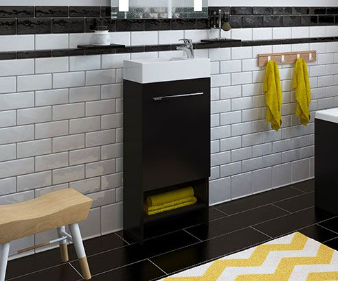 Nash Black 400 Cloakroom Freestanding Vanity Unit with Sink - V50121051SJ scene square medium