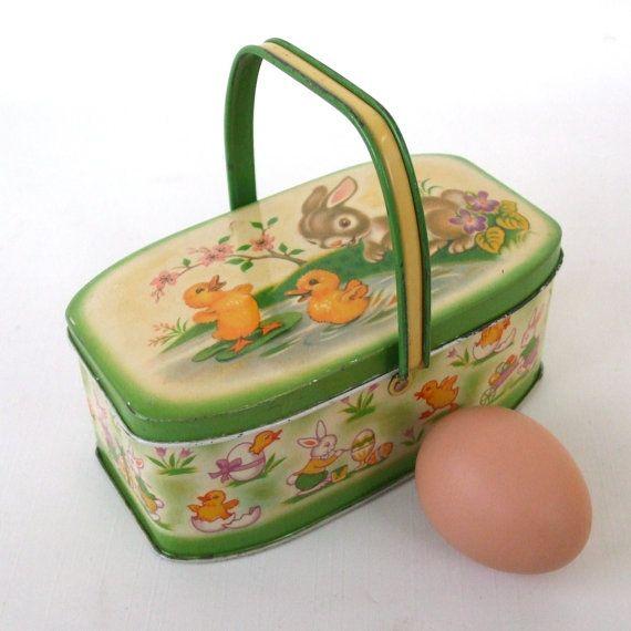 vintage easter tin basket