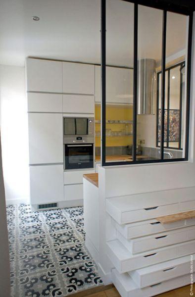 cuisine avec verrire studio azimut - Faire Croquis Appartement Entree Et Salon